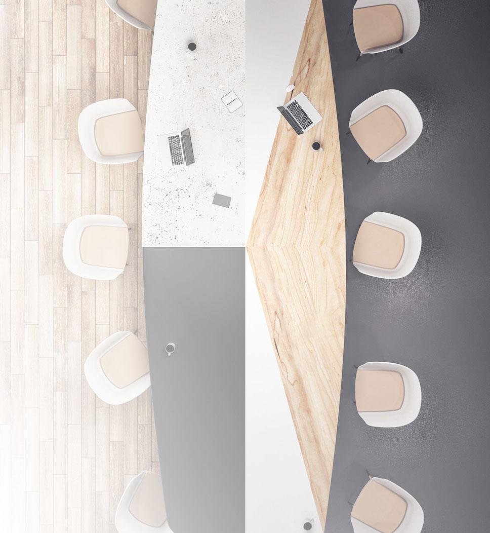 Bildcollage eines Raumes mit WEARMAX Transparent Coating auf Holz (links) und WEARMAX Color auf PVC (rechts)