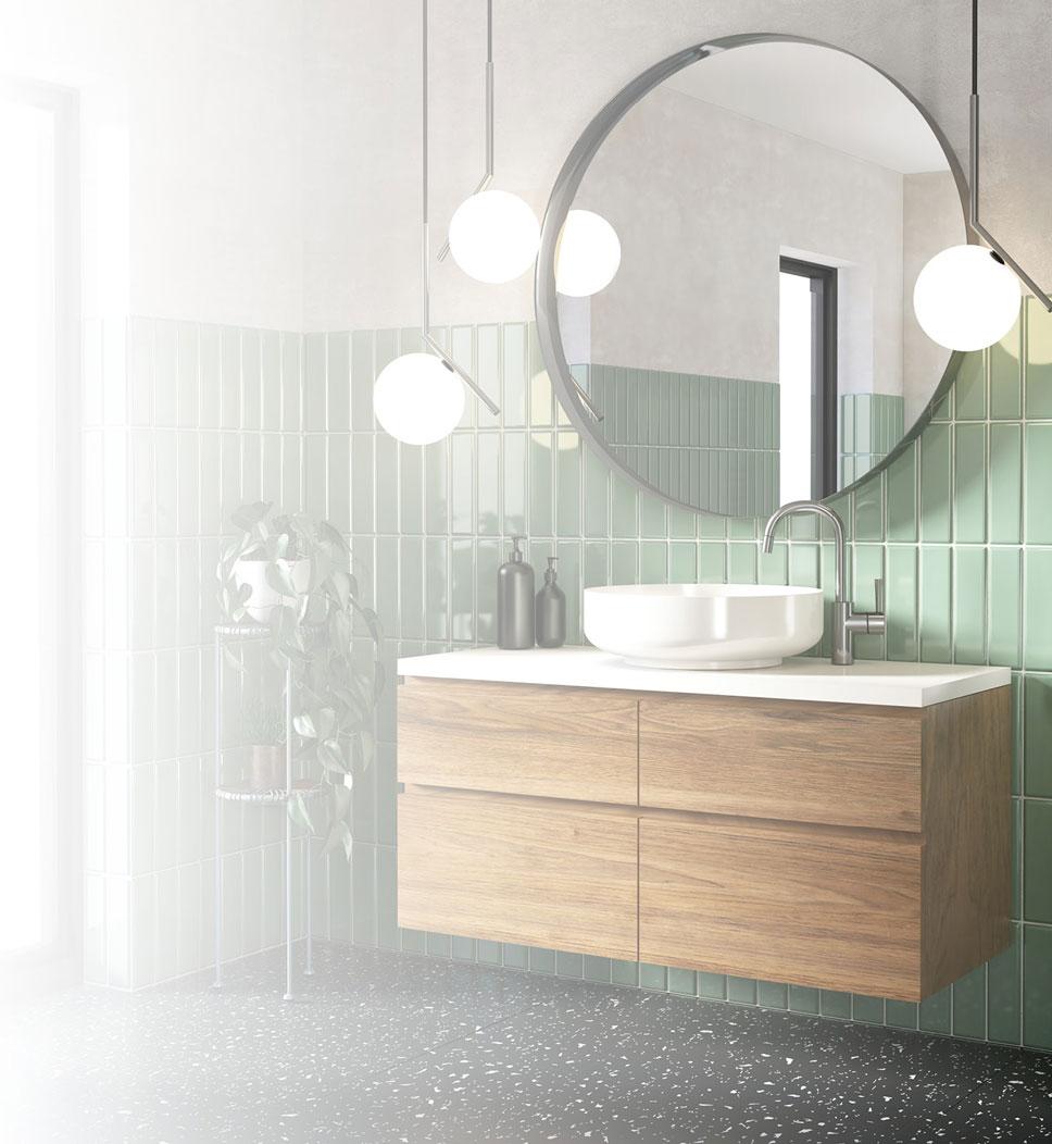 Ein Badezimmer im Art-Deco-Stil mit rundem Spiegel, und maßgeschneidertem Terazzo-Vinylboden