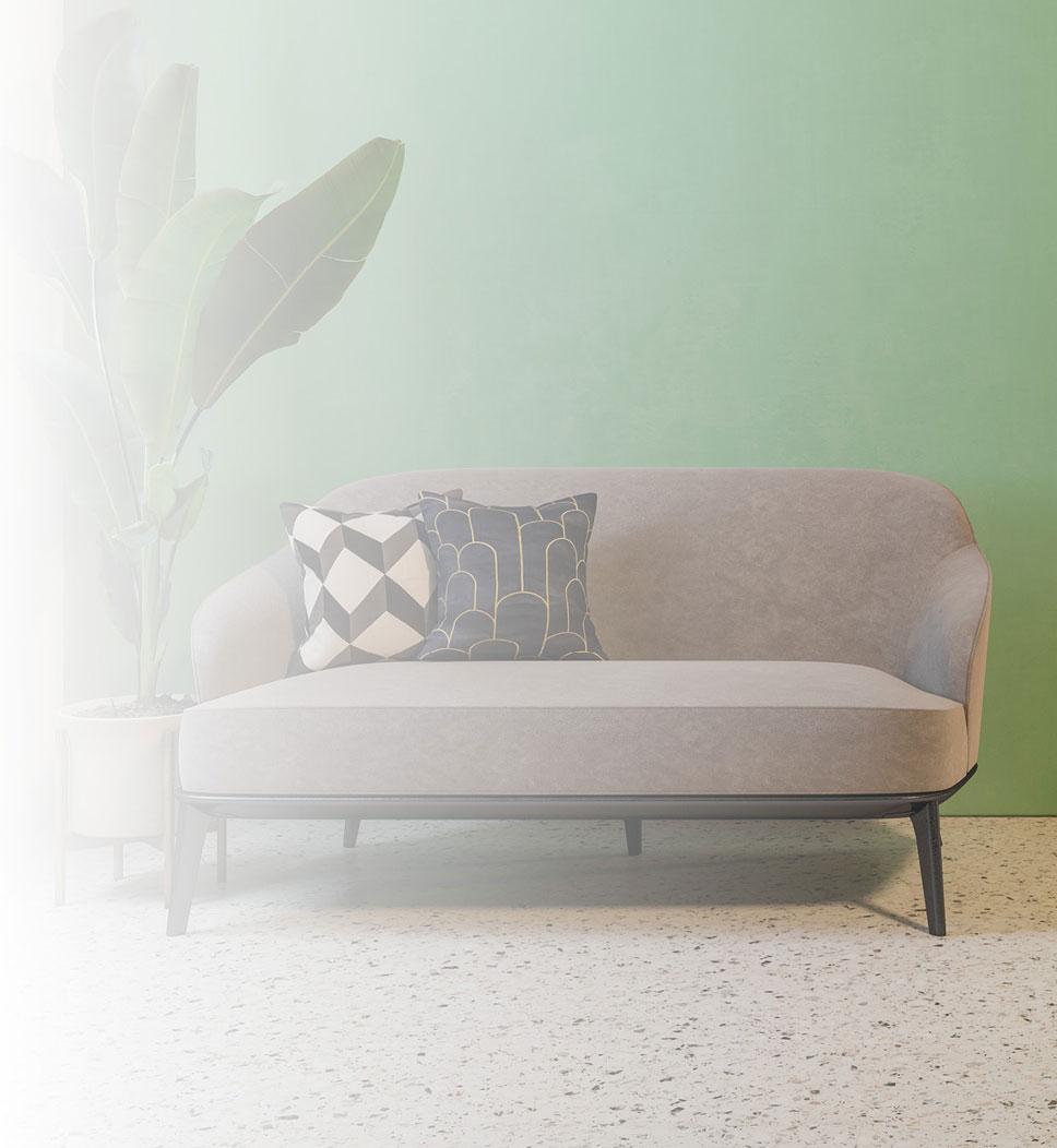 Wartezimmer oder Ausstellungsraum im Art-Deco-Stil mit hellem Terrazzo-Vinylboden in Bahnen.