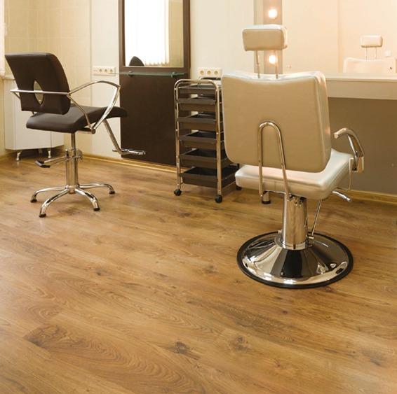 Heterogeneous floor coverings in rolls- hairdressing salon